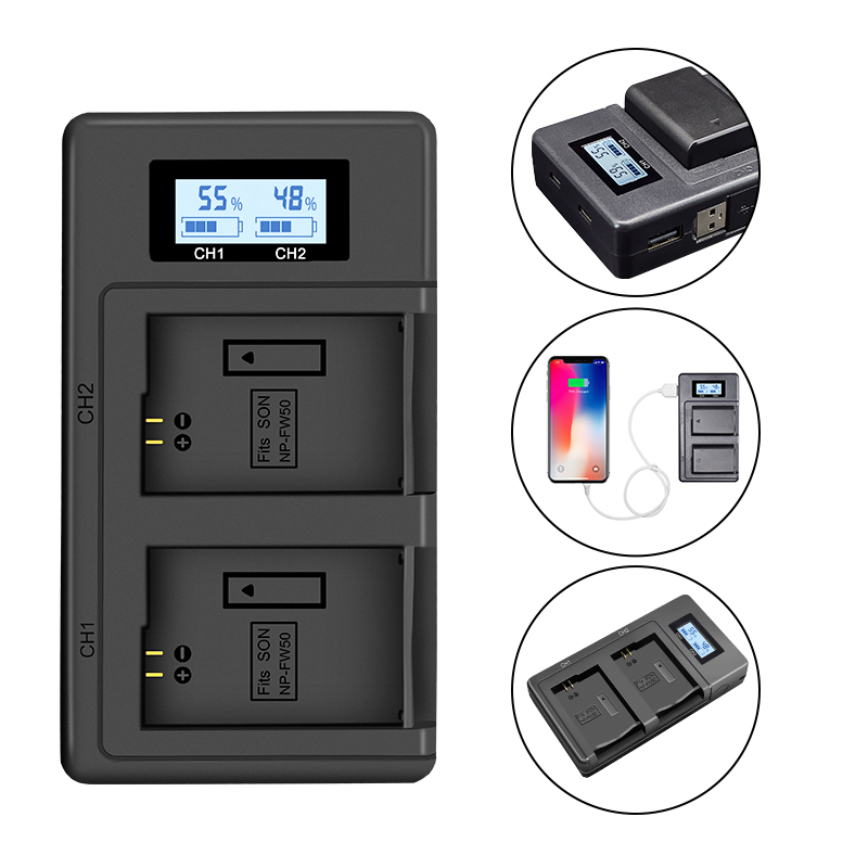 USB LCD Smart NP FW50 Charger Camera Battery Fast Dual Charger Mobile Power Charger for SONY Alpha A7 A7R A7S A5000 A6000 ect|Camera Charger| |  - title=