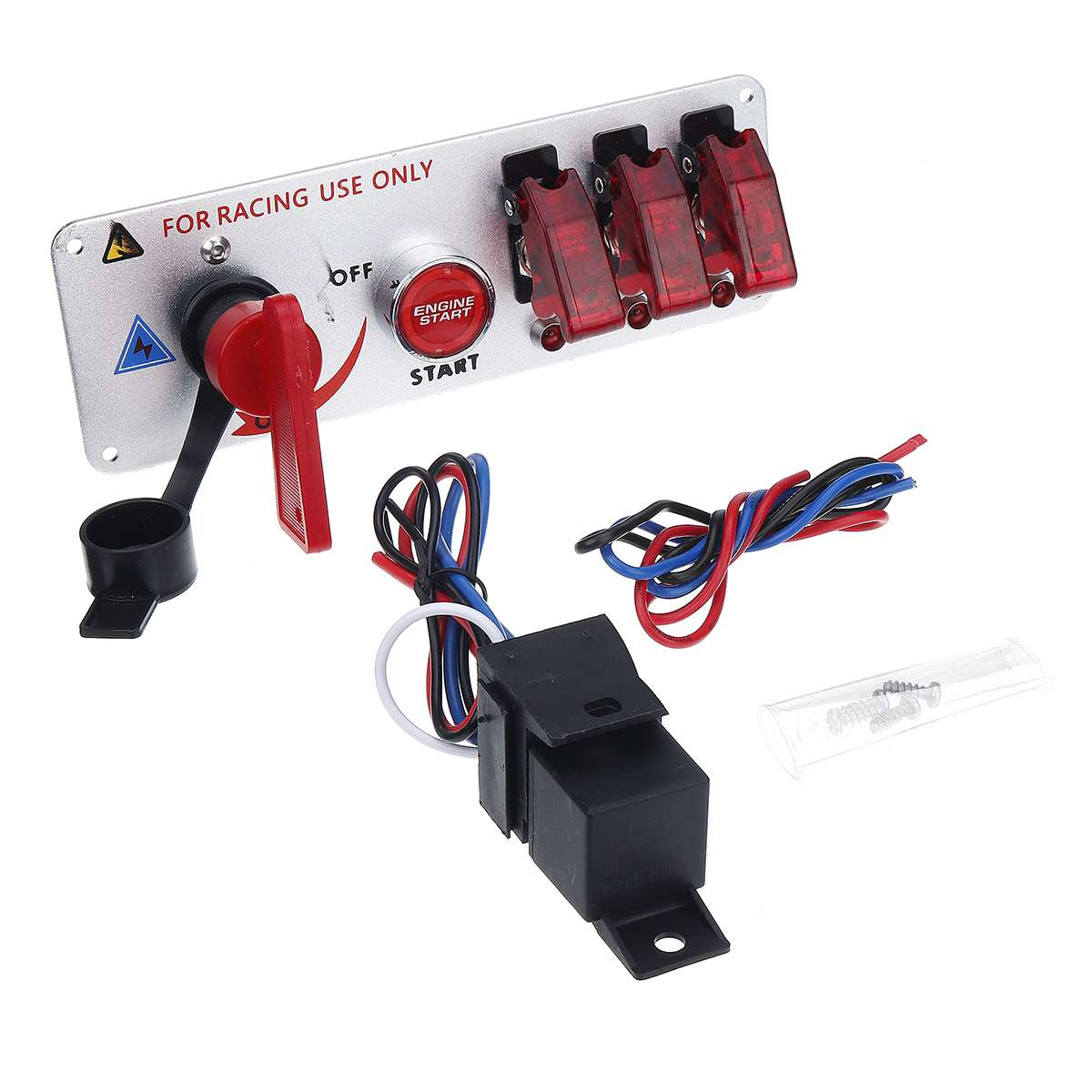 Jtron DC12V Racing Car Ignition Switch Panel Carbon Fiber Rocking Switch+Engine Start Push Button With Indicator Light Red
