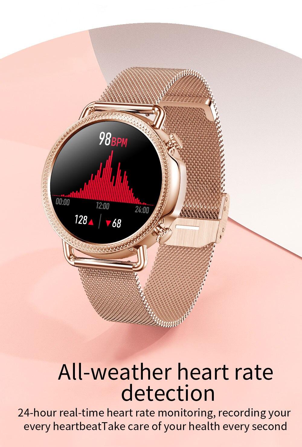 H80c5af2aa849427da31063a5461b6ecfT 2021 Women Smart Watch 1.28 inch HD Screen IP67 Waterproof Lady's Watches Body Temperature Heart Rate Monitor PK V23