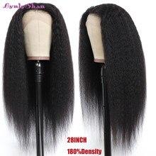 Kinky peruca reta 13*4 perucas da parte dianteira do laço transparente cabelo remy indiano yaki peruca de cabelo humano & 13*6 perucas de frente do laço transparente