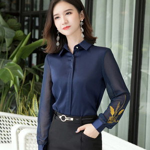 Image 2 - Professional Satin Shirt Women 2019 New Autumn Fashion Embroidered Long Sleeve Slim Blouses Office Ladies Work Tops