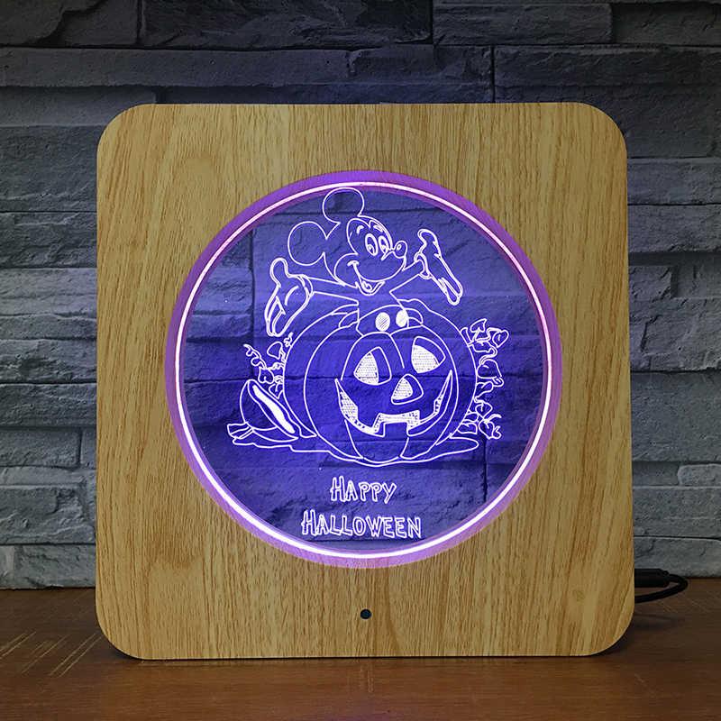 חמוד מיקי LED תמונה מסגרת לילה אור שולחן Stand קישוט LED אקריליק 3D מנורת בית ספר מתנה PF-2861