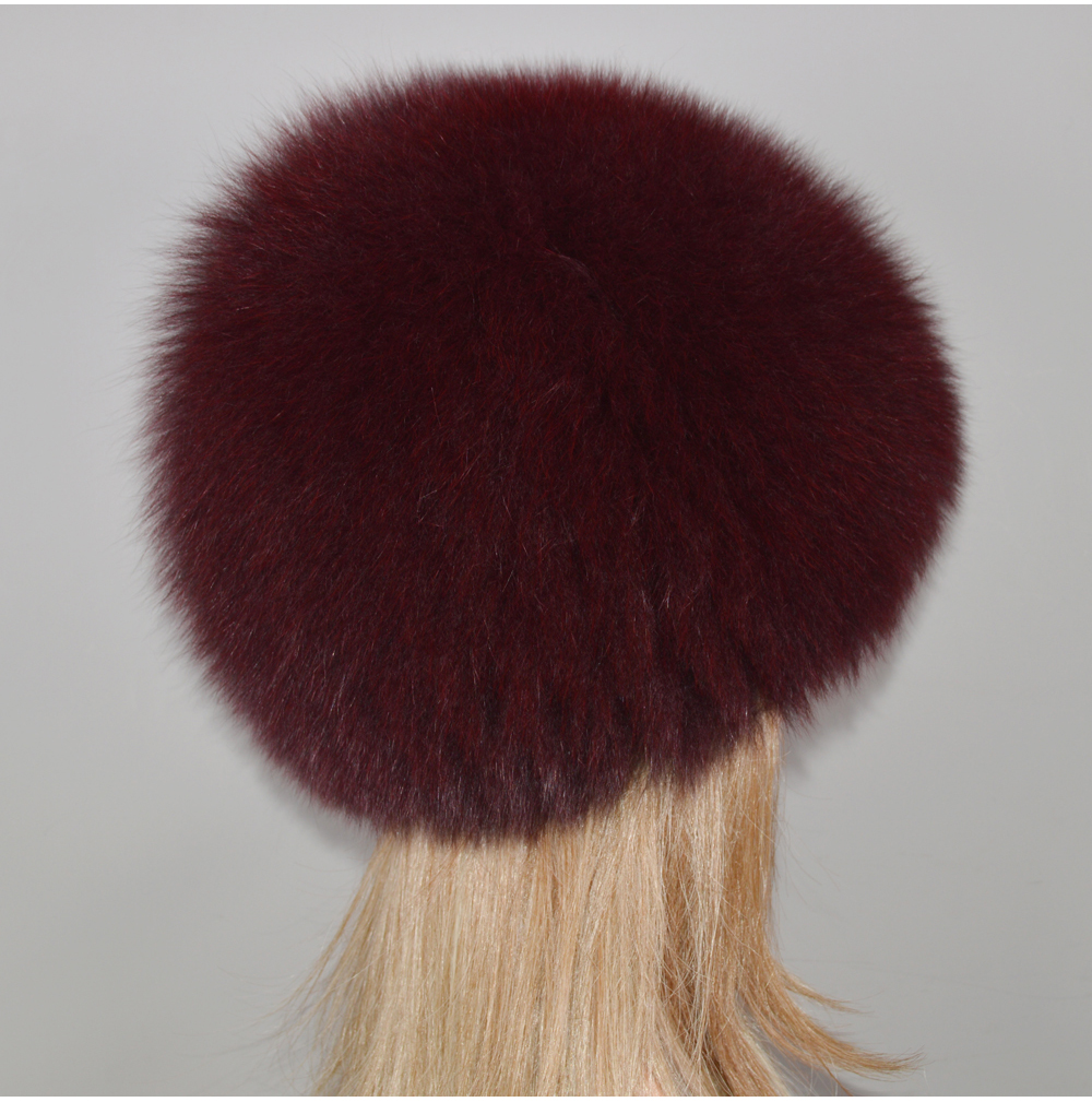 H80c5c63317ae4bcb97bbac7a81d4efdeS - New Luxury 100% Natural Real Fox Fur Hat Women Winter Knitted Real Fox Fur Bomber Cap Girls Warm Soft Fox Fur Beanies Hats