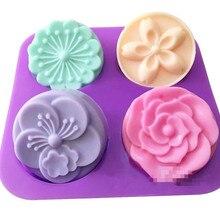 4 Соединенных цветов формы для мыла луна торт круглые силиконовые формы для мыла