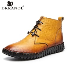 DRKANOL Women Ankle Boots Autumn Winter Handmade Genuine Leather Flat Leather Short Boots Women Winter Warm Snow Boots Size 43 student hairy flat bottom warm short boots women winter thickening martin boots black white tie leather flat heel women boots