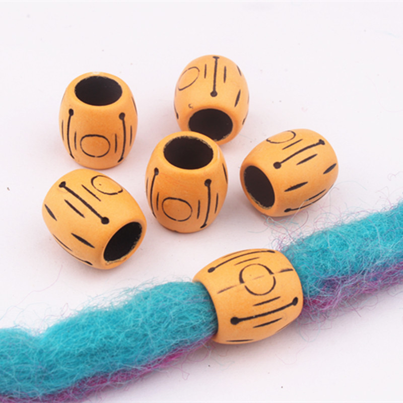 10 Pcs/Bag Hot Selling Dreadlock Beads Dread Cuff Braided Imitation Wood Large Hole Beads Hair Rings Fashion Micro Hair Beads