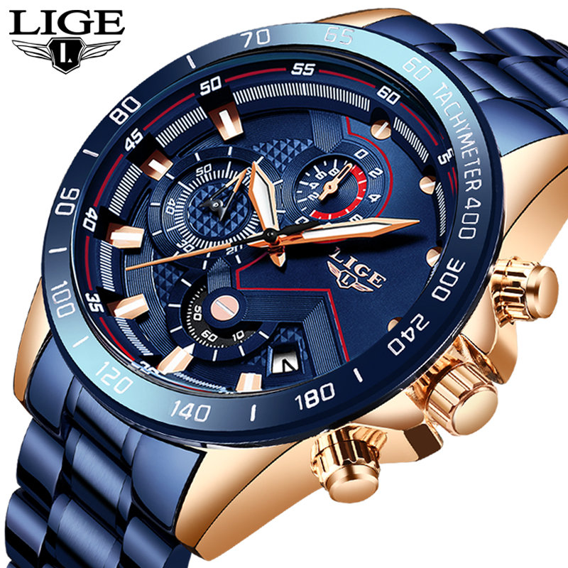 LIGE 2019 New Watches Men Waterproof Stainless Steel Band Quartz Wristwatch Military Chronograph Clock Male Fashion Sports Watch
