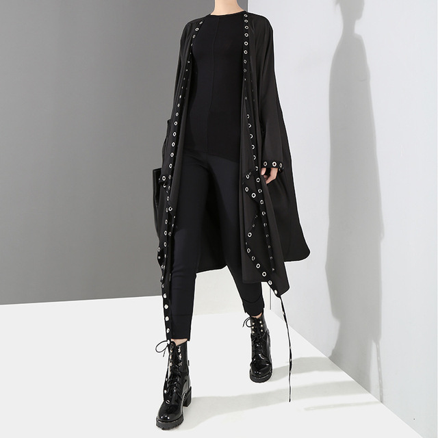 [EAM] Loose Fit Black Hollow Out Ribbon Pleated Big Size Jacket New V-collar Long Sleeve Women Coat Fashion Spring 2021 1D756 2