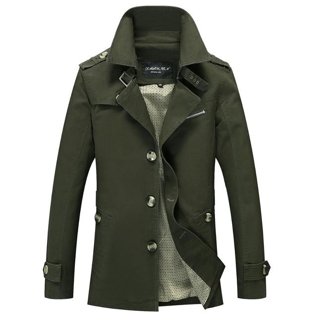 Brand Men Jacket Coats Fashion Trench Coat New Autumn Casual Silm Fit Overcoat Black Bomber Jacket Male long jacket Men M-5XL 5