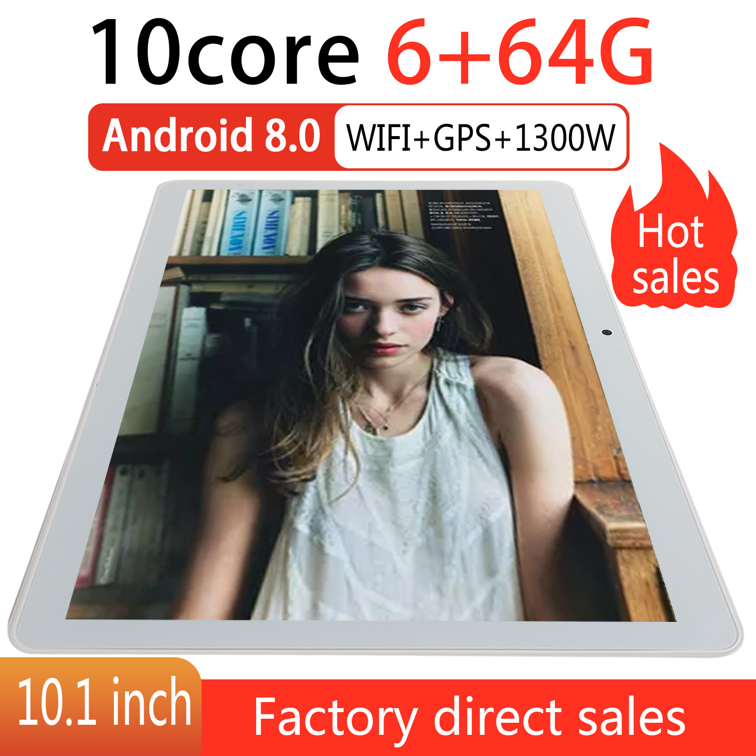 10.1 Inch Tablet Pc Ten Core 3G Phone Call Google Market GPS WiFi FM Bluetooth 10.1 Tablets 6G+64G Android 8.0 Tab