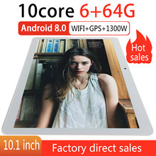 10.1 Inci Tablet PC 10 Core 3G Telepon Pasar Google GPS WIFI FM Bluetooth 10.1 Tablet 6G + 64G Android 8.0 Tab(China)