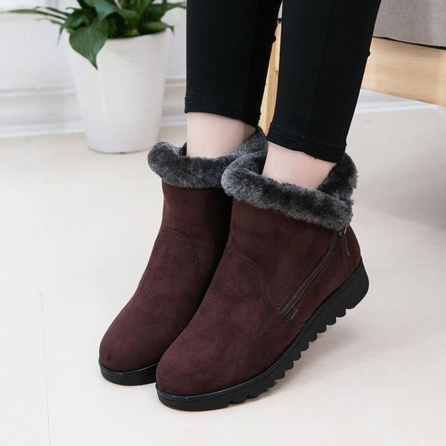 בתוספת גודל נשים מגפי שלג חם קטיפה רך תחתון חורף נעלי אישה קרסול מגפי צאן אמהות כותנה נעלי Botas Mujer SH09093