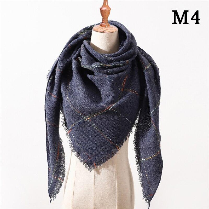 Женский зимний шарф в ретро стиле, кашемировые вязаные пашмины шали, женские мягкие треугольные шарфы, бандана, теплое одеяло, новинка - Цвет: M4