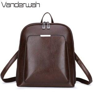 Image 1 - 3 in 1 Vintage Women Backpack High Quality Youth Leather Backpacks for Teenage Girls Female School Shoulder Bag Bagpack mochila