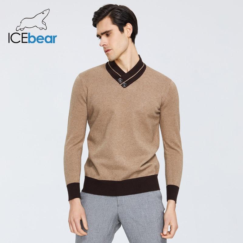 ICEbear Spring 2020 New Men's Sweater Warm V-neck Sweater Brand Clothing 1912