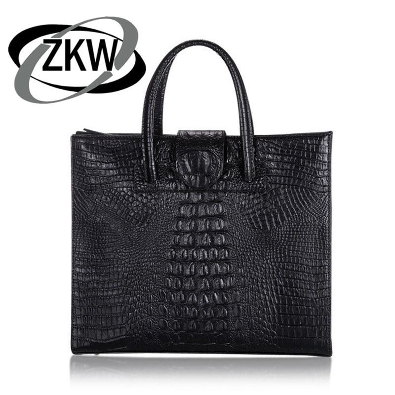 ZKW The New  Female Genuine Leather Casual Totel Handbags Crocodile Real Leather Handbag Fashion Shoulder Messenger Bag