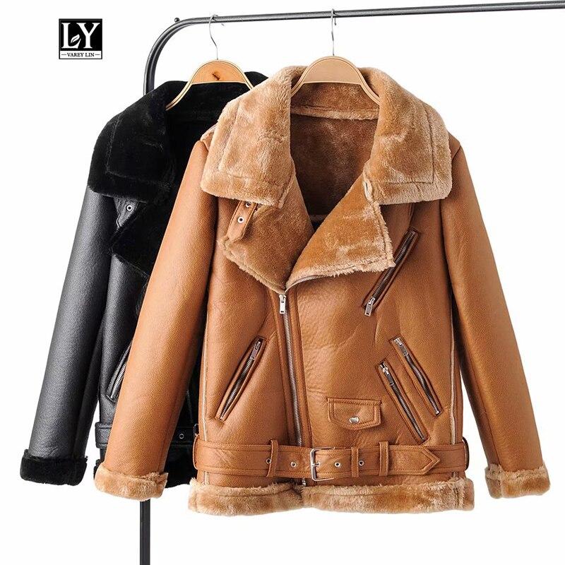Ly Varey Lin, зимнее женское пальто из искусственной кожи, овечья шерсть, меховой воротник, Толстая теплая Свободная куртка из мягкой искусственной кожи, пояс, верхняя одежда