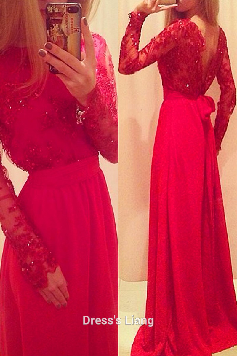Robe De Soiree Evening Gown Long Sleeve 2018 Sexy Backless Vestido De Festa Longo Red Lace Party Mother Of The Bride Dresses