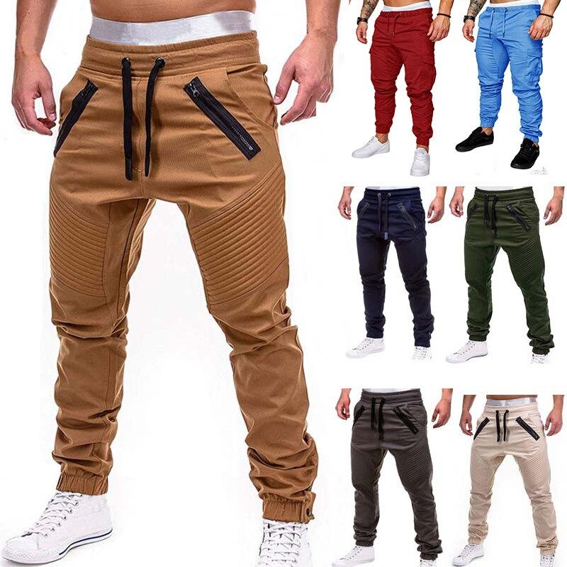 Мужские повседневные штаны для бега, однотонные тонкие спортивные штаны-карго, мужские брюки с несколькими карманами, новая мужская спортивная одежда в стиле хип-хоп, шаровары, узкие брюки