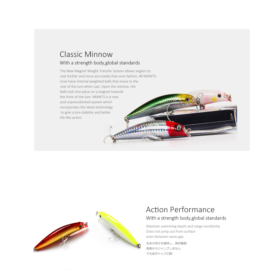 Fishing Lures 90mm 10g Floating Minnow Pencil Bait Size Magnet Inside Dive 0.5m