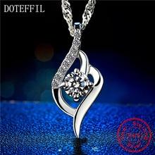 Heart Necklace 925 Silver Women Fashion Charm Heart Pendant 100% Silver Necklace AAAA Zircon Brand Jewelry jooz brand women 100