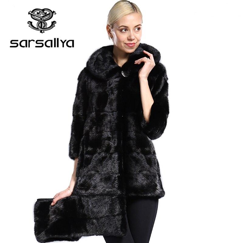 Abrigo de piel de visón auténtica de piel de visón de estilo nuevo SARSALLYA de piel
