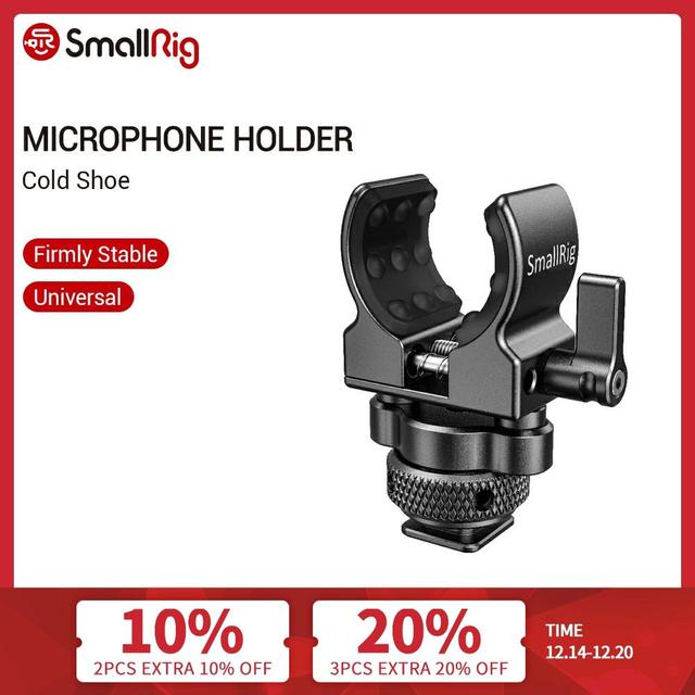 Smallrig Dslr Camera Kooi Microfoon Houder (Koude Schoen) met 19 25Mm Diameter Microfoon Shock Klem Houder 2352