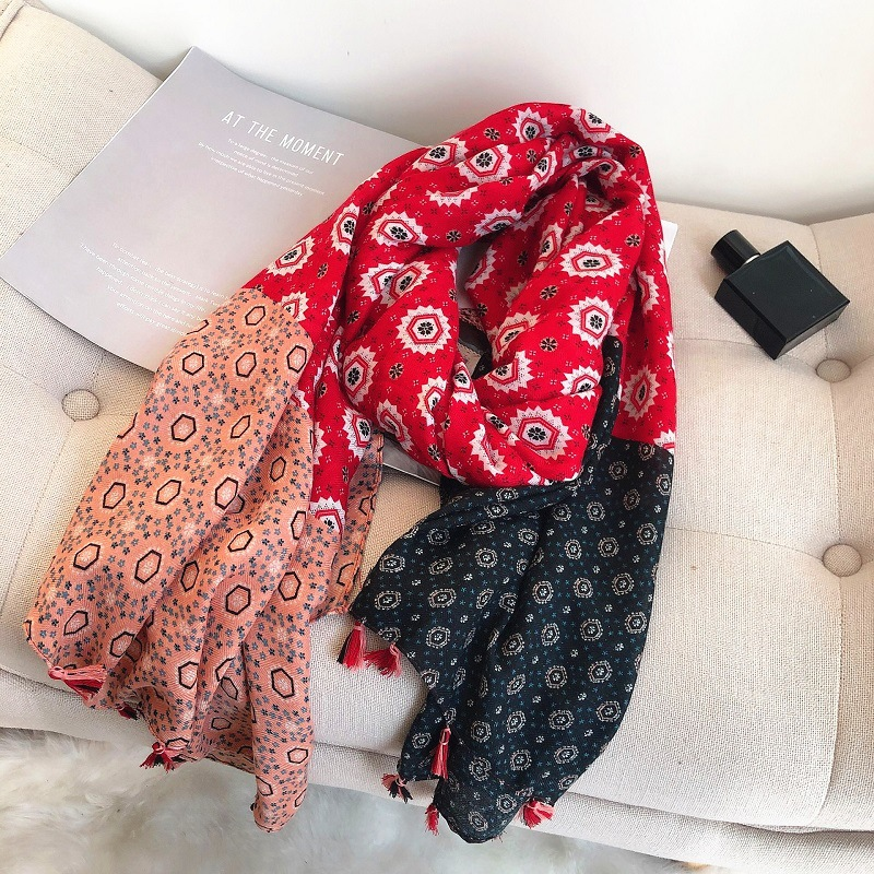 Fashion Aztec Design Geometric Polka Floral Viscose Shawl Scarf Lady High Quality Wrap Pashmina Stole Bufanda Muslim Hijab Snood