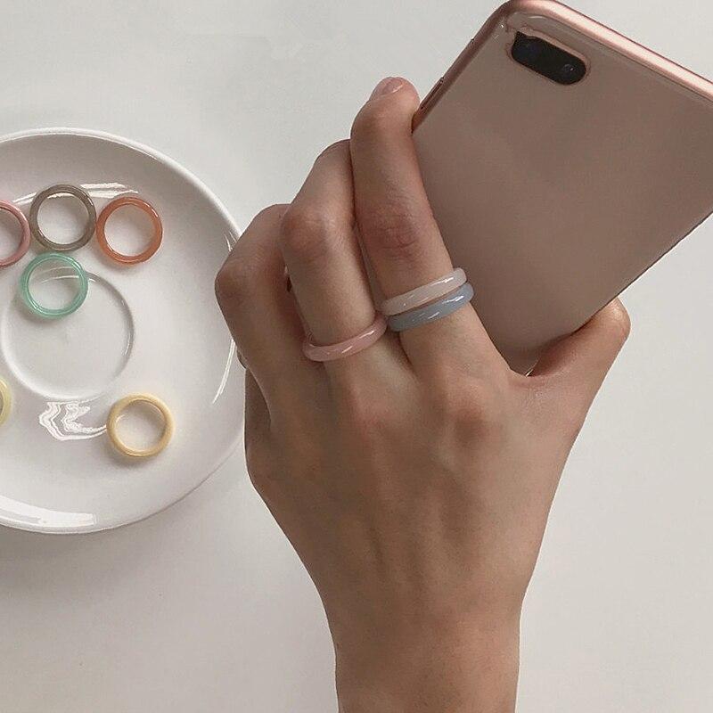 AOMU 5pcs/set Korea 2020 Chic Colorful Transparent Resin Acrylic Rings Hot Morandi Color Light Ring Women Party Jewelry Ring Set