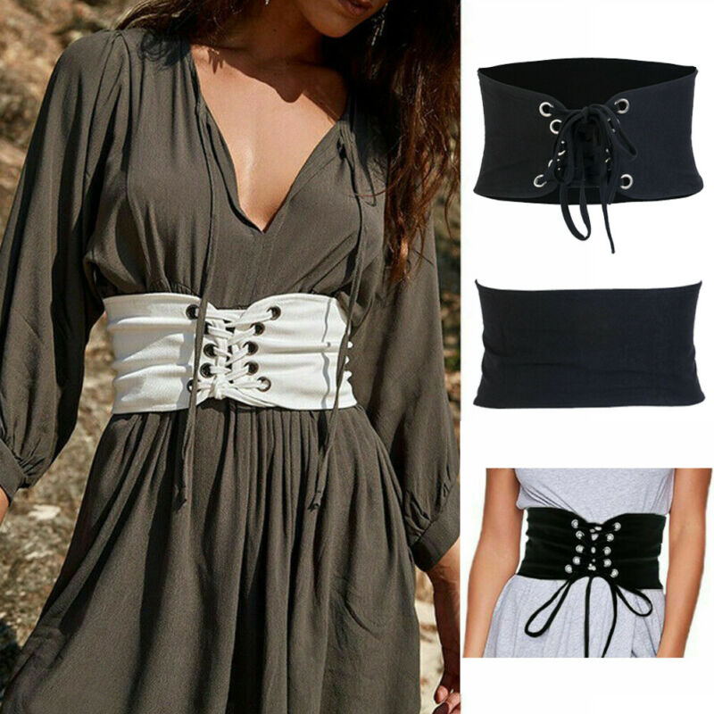 Fashion Womens Wide Waist Belt Vintage Metal Flower Elastic Stretch Buckle Waistband 2020 Hot Sale Lace Bandage Black Waist Belt