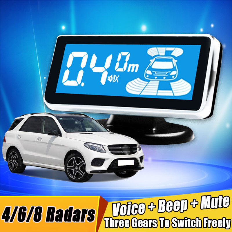 Car Parking Sensor Back Reverse LCD Digital Screen Sound Alarm Probes Parktronic System Front Voice Buzzer 4 6 8 Radars 8 Sensor