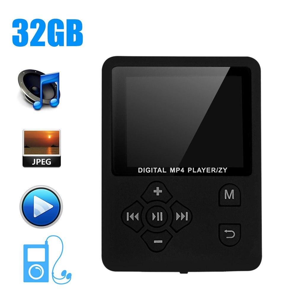 Мини MP3-плеер 32 ГБ, Hi-Fi портативный плеер с радио/FM/записью, 1,8 дюймовый TFT-экран, цифровой музыкальный mp3-плеер
