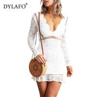 2020 Fashionable Women Ruffles Lace Dress Ladies Elegant Casual Sexy Deep V Neck Mini White Beach Dresses Womens Plus Size S XL