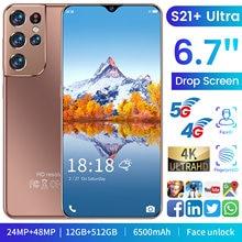 Versão global s21 + ultra 6.7 Polegada smartphone 6500mah 12 + 512gb tela cheia apoio face id duplo sim 4g 5g android mobilephone