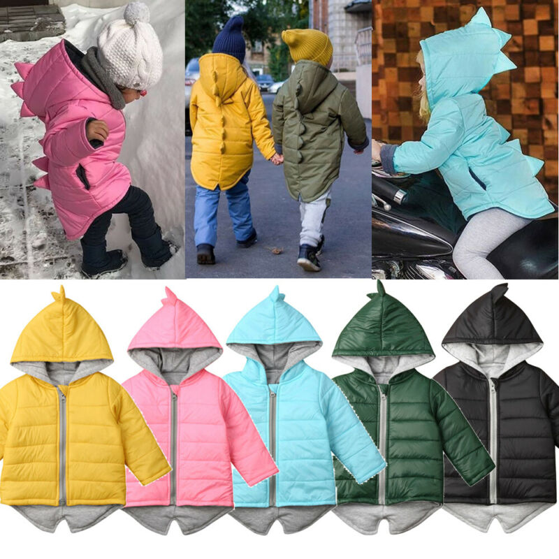Jacket Hooded Dinosaur Toddler Baby-Boys-Girls Kids Winter Fashion Coat Thick Outwear