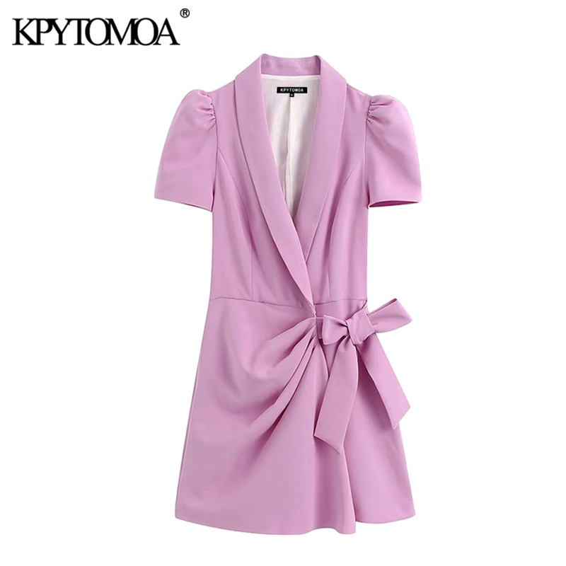 KPYTOMOA Women 2020 Chic Fashion Office Wear Blazer-Style Playsuit Vintage Crossover V Neck Puff Sleeve Bow Tied Female Jumpsuit