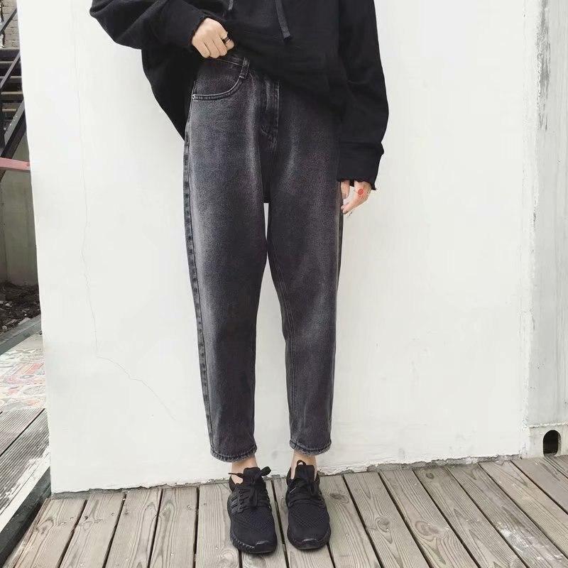 2019 Autumn And Winter New Jeans Female Streetwear Loose High Waist Plus Velvet Ankle Length Harem Pants Plus Size