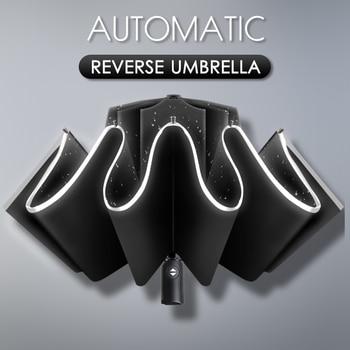 Automatic Men Folding Reverse Umbrella  Parasol  Women Travel Sun Umbrellas Black Windproof  Business 10K Parapluie