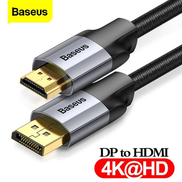 Baseus dp do hdmi kabel 4K z męskiego na męskie port wyświetlacza displayport do hdmi adapter do kabla do projektora PS4 PC konwerter hdtv przewód
