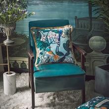 Funda de almohada decorativa con funda de cojín de DUNXDECO, funda de sofá con borlas de terciopelo de lujo y Flora de bosque antiguo artístico