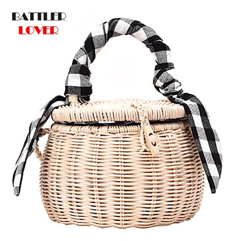 2019 Rattan Bag Women Handbag Lattice Silk Scarf Portable Straw Bag Ladies Cylinder Small Jar Girls Beach Crossbody Phone Bags