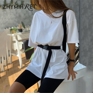 ZHYMIHRET 2020 Summer T Shirt And Biker Shorts Two Pieces Set Sashes Women O Neck 2 Piece Set With Belts Household Clothing