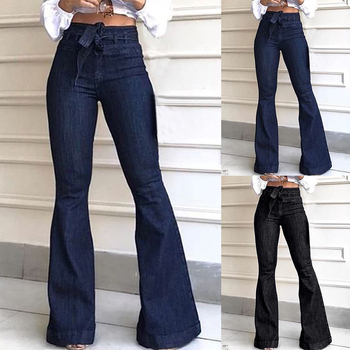 Fashion Slim Women High Waist Bandage Wide Leg Denim Jeans 2019 New Women Spring Summer Jeans Ladies Stretch Fare Long Pants