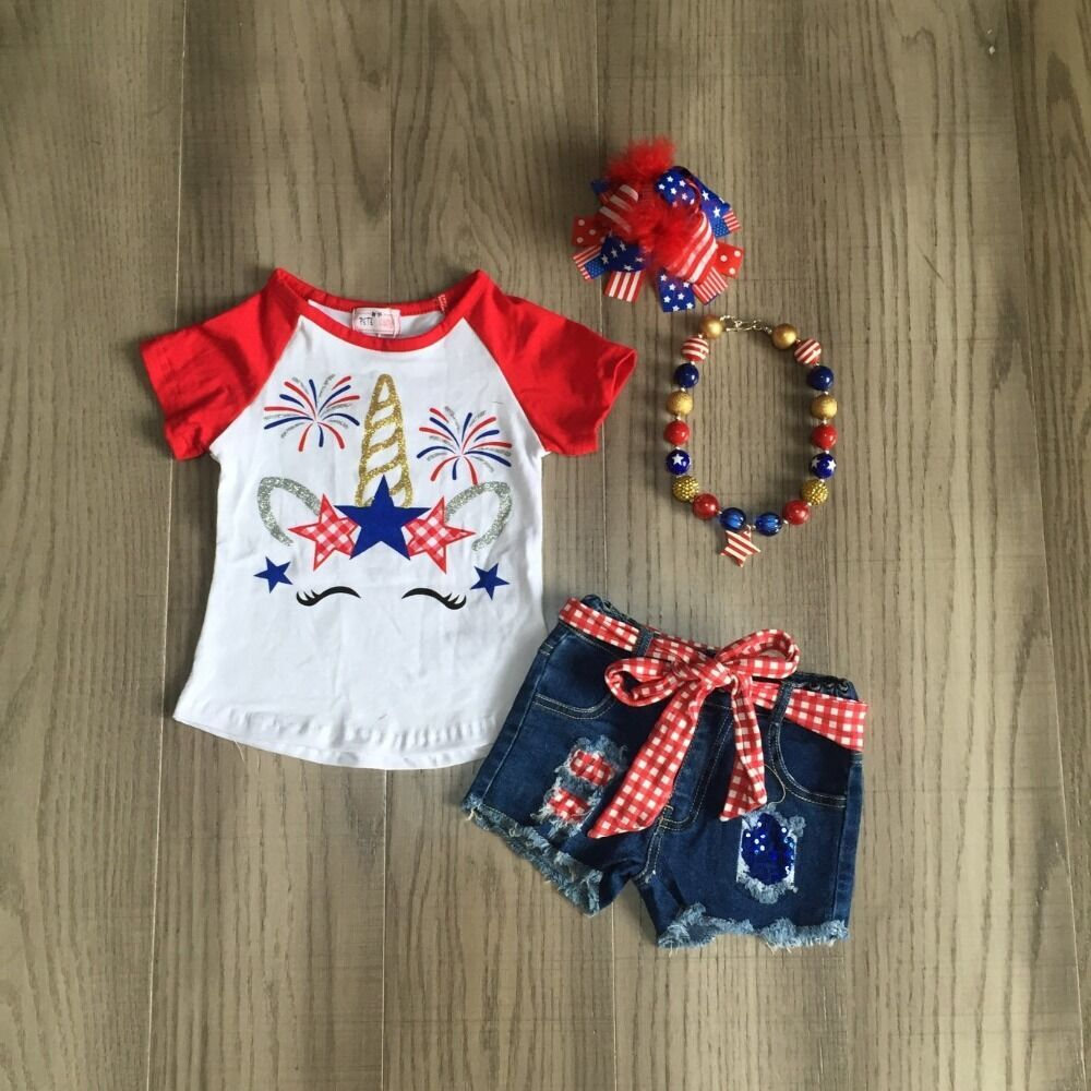 Baby Girls July 4th Clothes Kids Summer Outfits Jeans Shorts Unicorn Shirt Girls Boutique Outfits With Accessories