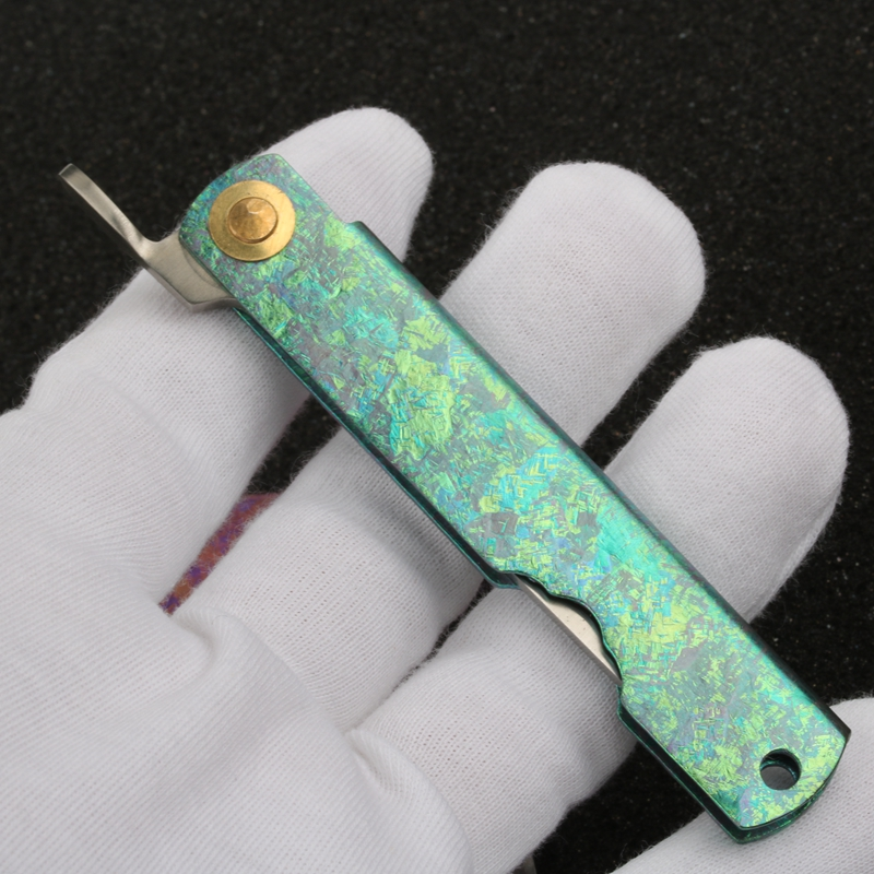 Tools : HIGONOKAMI Japanese Style Blade Folding Pocket Knife Titanium TA2 handle 14C28N blade EDC compact knife