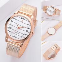 Trendy Women Fashion Watch Alloy Mesh Watch Band Letter Line Round Dial Watch Analog Quartz Ladies Wristwatches zegarki damskie