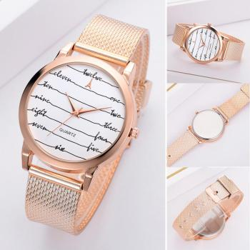 цена Trendy Women Fashion Watch Alloy Mesh Watch Band Letter Line Round Dial Watch Analog Quartz Ladies Wristwatches zegarki damskie онлайн в 2017 году