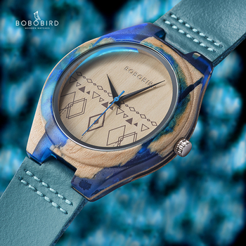 BOBO BIRD Relogio Masculino Wood Watch Men Ladies Jewelry Watch Ink Painting Colorful Wooden Timepieces Accept Logo Customized