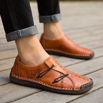 2019 Leather Casual Men Shoes Fashion Flats Slip on Male Loafers Moccasins Driving Shoes Men Business Loafers Male Plus Size