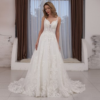2020 New Arrival Spaghetti Strap V-Neck Backless Lace Appliques Beading Wedding Dress vestido de noiva sereia 1